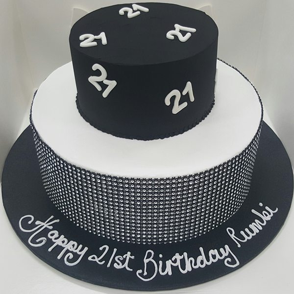 21st Black And Silver Stud Cake