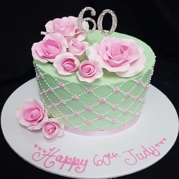 60th Pink Rose Cake
