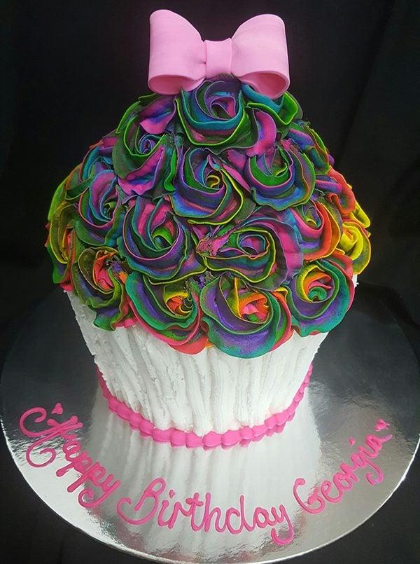 Rainbow Rose Giant Cupcake Spill Cake